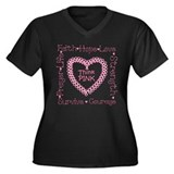 Think Pink Women's Plus Size V-Neck Dark T-Shirt