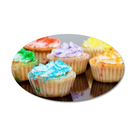 Cupcakes Decorated With Vari 35x21 Oval Wall Decal