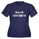 Junior Bridesmaid Women's Plus Size V-Neck Dark T-