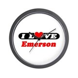 I Love Emerson Wall Clock
