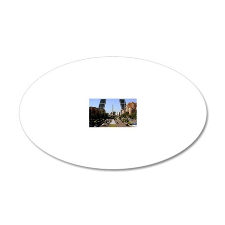 Paseo de la Castellana, Madr 20x12 Oval Wall Decal