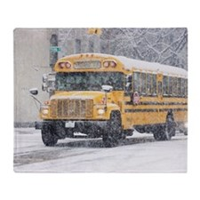 USA, New York City, school bus in bl Throw Blanket