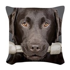 Studio portrait of chocolate l Woven Throw Pillow
