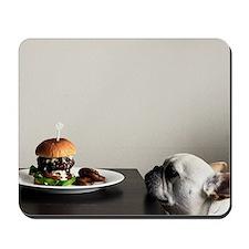 Hamburger and dog Mousepad