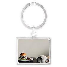 Hamburger and dog Landscape Keychain