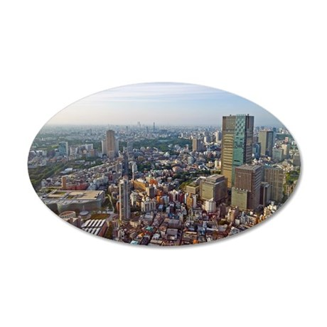 Aerial view of Tokyo Midtown 35x21 Oval Wall Decal