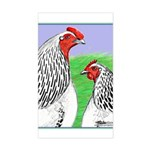 Columbian Cock and Hen Rectangle Sticker
