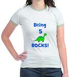 Being 5 Rocks! Dinosaur Jr. Ringer T-Shirt
