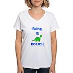 Being 5 Rocks! Dinosaur Women's V-Neck T-Shirt