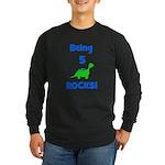 Being 5 Rocks! Dinosaur Long Sleeve Dark T-Shirt
