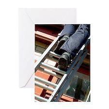 Climbing a ladder Greeting Card