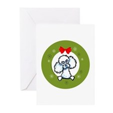 White Toy Poodle Christmas Greeting Cards (Pk of 2