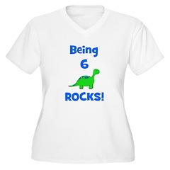 Being 6 Rocks! Dinosaur Women's Plus Size V-Neck T