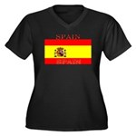 Spain Flag Women's Plus Size V-Neck Dark T-Shirt