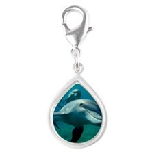 Dolphin flight Silver Teardrop Charm
