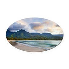 Hanalei bay beach Oval Car Magnet