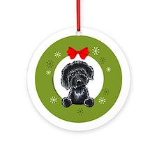Black Labradoodle Christmas Ornament (Round)