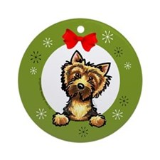 Norwich Terrier Christmas Ornament (Round)
