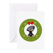 Black Tan Dachshund Christmas Greeting Cards (Pk o