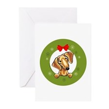Smooth Red Dachshund Christmas Greeting Cards (Pk