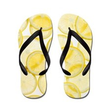 Lemon slices arranged in pattern Flip Flops