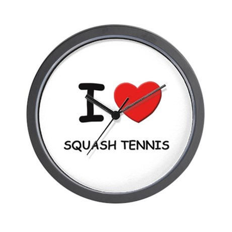 I love squash tennis Wall Clock