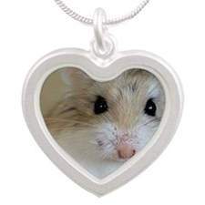 Hamster Roborovsky Silver Heart Necklace