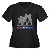 Boston Patriots Women's Plus Size V-Neck Dark T-Sh
