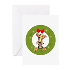 Airedale Terrier Christmas Greeting Cards (Pk of 2