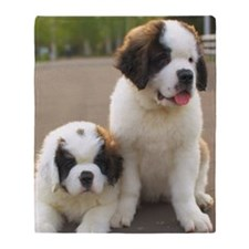 Saint Bernard puppies Throw Blanket