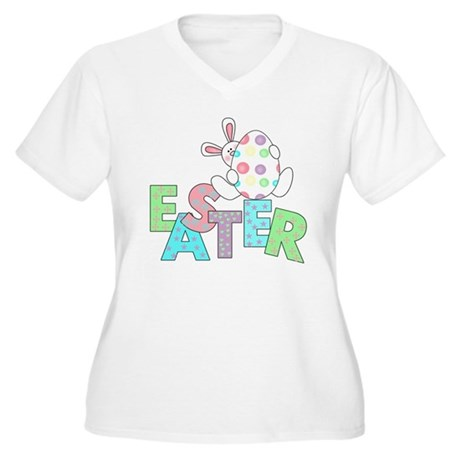 Bunny With Easter Egg Women's Plus Size V-Neck T-S