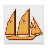 Schooner Sailboat Tile Coaster