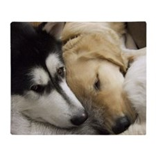 Puppy dog heads sleeping together in Throw Blanket