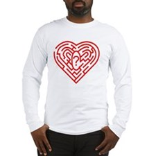 Heart Maze, computer artwork Long Sleeve T-Shirt