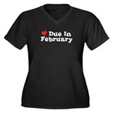 Due In February Women's Plus Size V-Neck Dark T-Sh