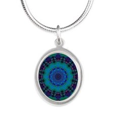 Mellow Art Mandala Silver Oval Necklace