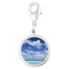 Blue sky and sea Silver Round Charm