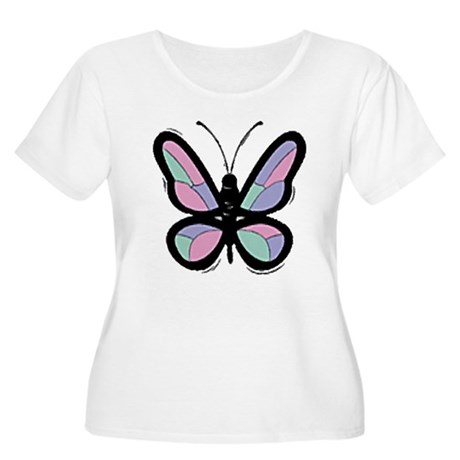 Patchwork Butterfly Women's Plus Size Scoop Neck T