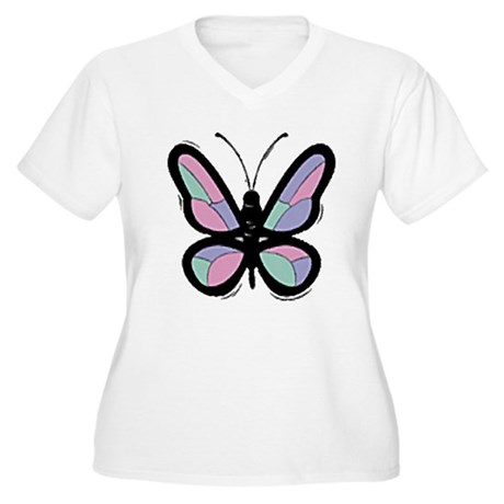 Patchwork Butterfly Women's Plus Size V-Neck T-Shi