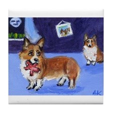 Corgis w toy Tile Coaster