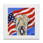 Wheaten Patriotic American Flag Tile Coaster