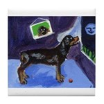 ROTTWEILER sees moon Tile Coaster
