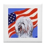OLD ENGLISH SHEEPDOG American flag Tile Coaster