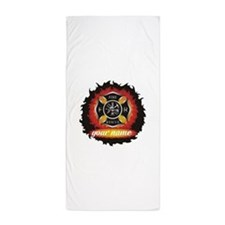 Personalized Fire and Rescue Beach Towel
