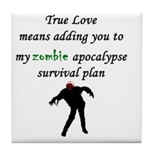 True Love Zombie Tile Coaster