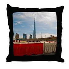Burj Khalifa towers from city's const Throw Pillow