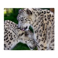 Male and female snow leopards Throw Blanket