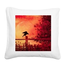 Halloween moon Square Canvas Pillow