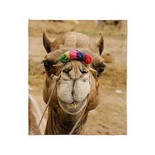 Smiling camel Throw Blanket