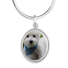 Westie puppy in garden Silver Oval Necklace